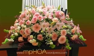 # MPCASK008 — $300.00 — Peach Gerberas Daisies, Pink Roses, Peach Carnations, Pink Asiatic Lilies (Marlene), White Mini Carnations, Bell of Irelands, Baby's Breath, Limonium Hybrids. ~ Approximate size: 18″H x 38″W