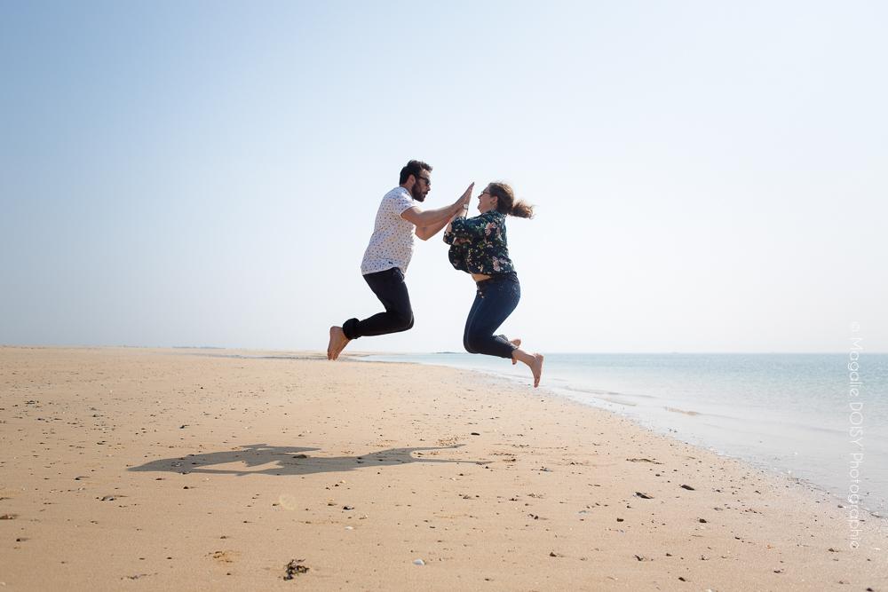 Séance couple sur le sable de Gouville sur Mer