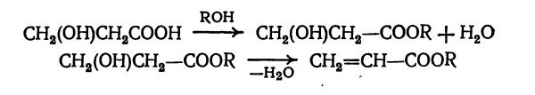 этерификация метакриловой кислоты спиртом и дегидратация эфира гидракриловой кислоты