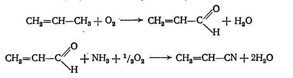 прямой синтез акрилонитрила из пропилена и аммиака