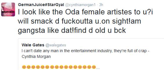 """wpid18957-1 Cynthia Morgan mocks her male colleagues, tells Wale Gates ''I'll smack the f**k outta u"""""""