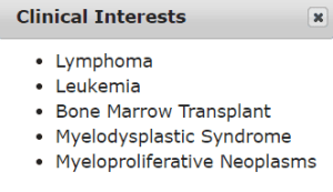 MPN clinical interests