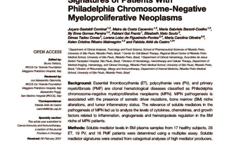 thumbnail of Bone Marrow Soluble Mediator Signatures of Patients with MPNs