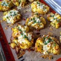 Cheesy Garlic Roasted Smashed Potatoes