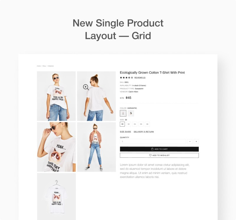 Product info page, grid layout.