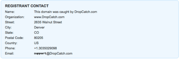 This domain was parked by a company called DropCatch.
