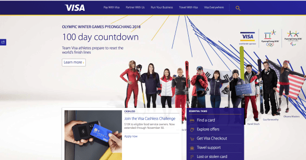 Visa's website features a large image spanning half the screen.