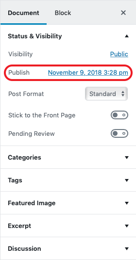 In the Gutenberg editor, the Publish option allows you to schedule a time for content to go live.