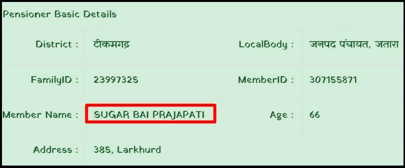 Preson bank detail for mp vridha pension status check online