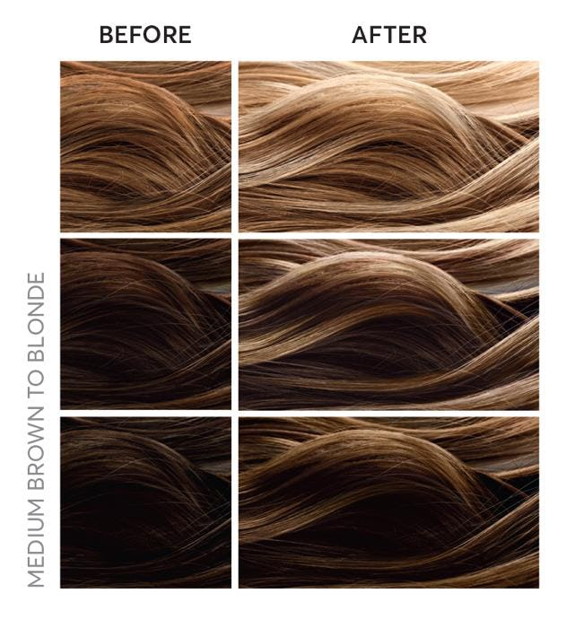 medium brown hair to blonde hair with highlights