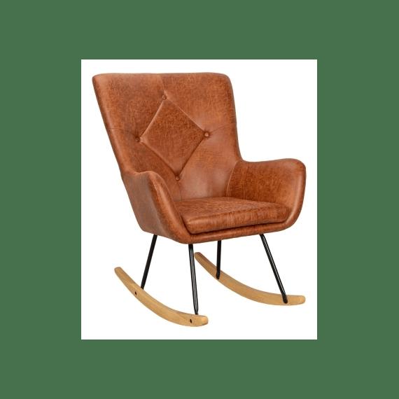 fauteuil a bascule rocky tissu cognac vintage