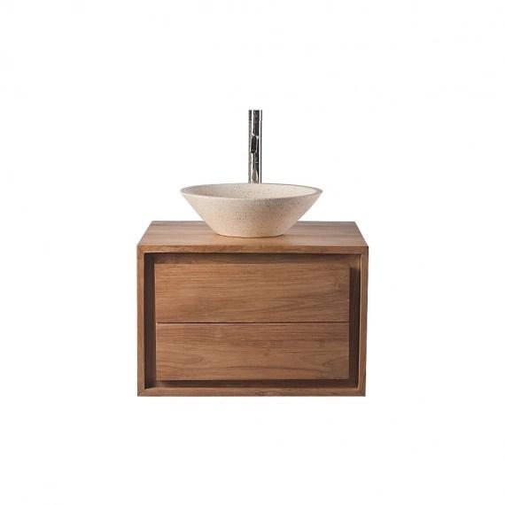 meuble salle de bain meuble sous vasque teck et vasque terazzo pekka