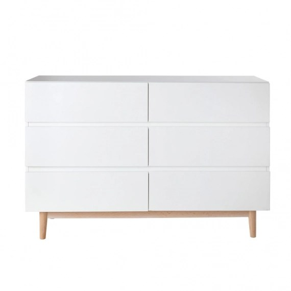 commode double 6 tiroirs blanche artic