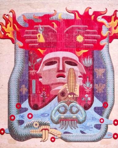 La vida, la muerte, el mestizaje y los 4 elementos de Francisco Eppens, Ciudad Universitaria de la UNAM