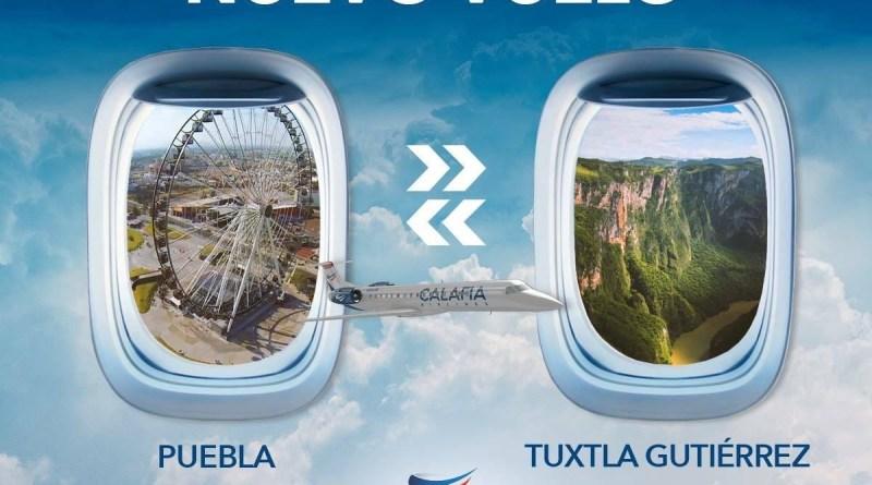 ¡Chiapas conecta con Puebla por nueva ruta de Calafia Airlines!