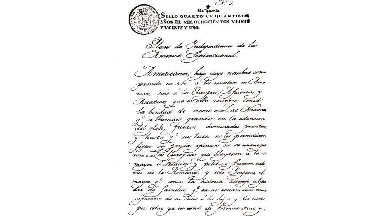 Texto del Plan de Iguala, hoja 1