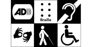 Six ADA symbols in black and white in a grid with the AD, Braille, Listening Device logos on top, Sign Language, A Blind Person, and a Person in a Wheelchair on the Bottom