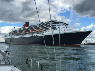 Queen Mary II leaving Southampton Water