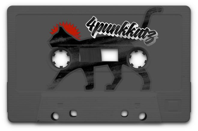 Dunkelgraue Hörcassette mit Zeichnung in der Mitte: Silhouette einer schwarzen Katze von der Seite auf dem Weg nach links (wohin auch sonst), Vorderpfote und Kopf umschließen die vordere Laufspule der Kassette. Ein roter Zackenkranz von der Stirn bis zum Rumpfansatz der Katze erinnert der an einen gängigen Punk-Haarschnitt. Rechts oben steht in schattierter, schablonierter Handschrift (Anmutung Edding-Tag mit altertümlichem z) (by @4punkkatz)