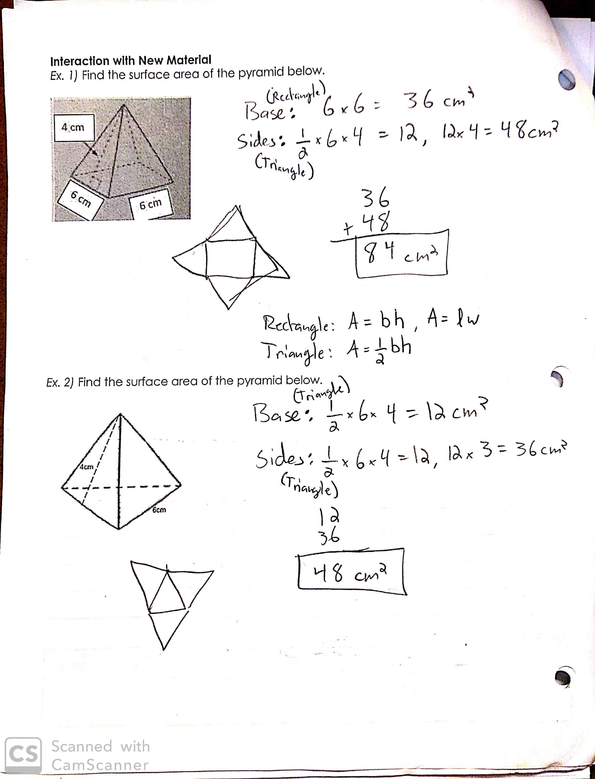 Math 6 Pyramid Surface Area