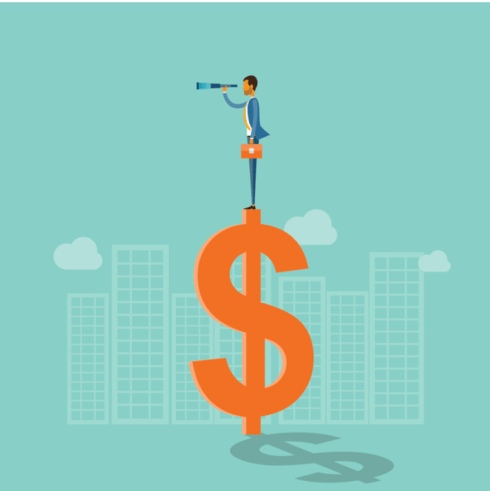 business vision concept and man standing on money
