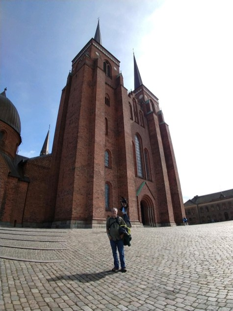 Mr. Coan at Roskilde Cathedral with a photobomb by Mr. Roberts