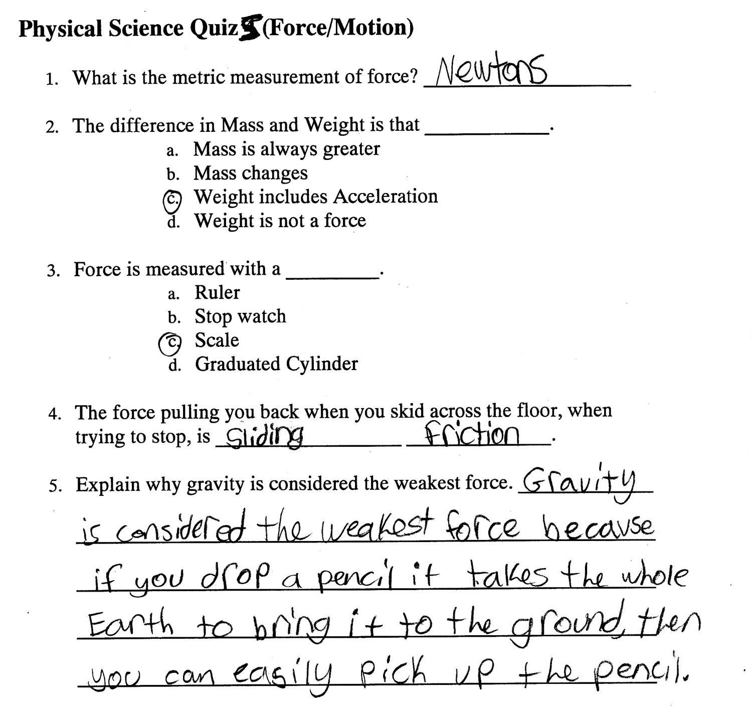 2nd Quarter Assignments 6th Grade Physical Science