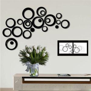 5PCS 3D wood Indoors Decor Circles Wall Stickers