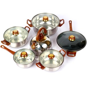12pcs stainless steel cooking set with glass lid