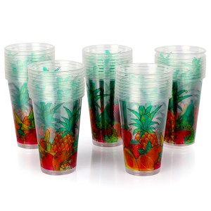 Fruits Design Disposable Smoothie Cups With Dome Lid – 50pcs