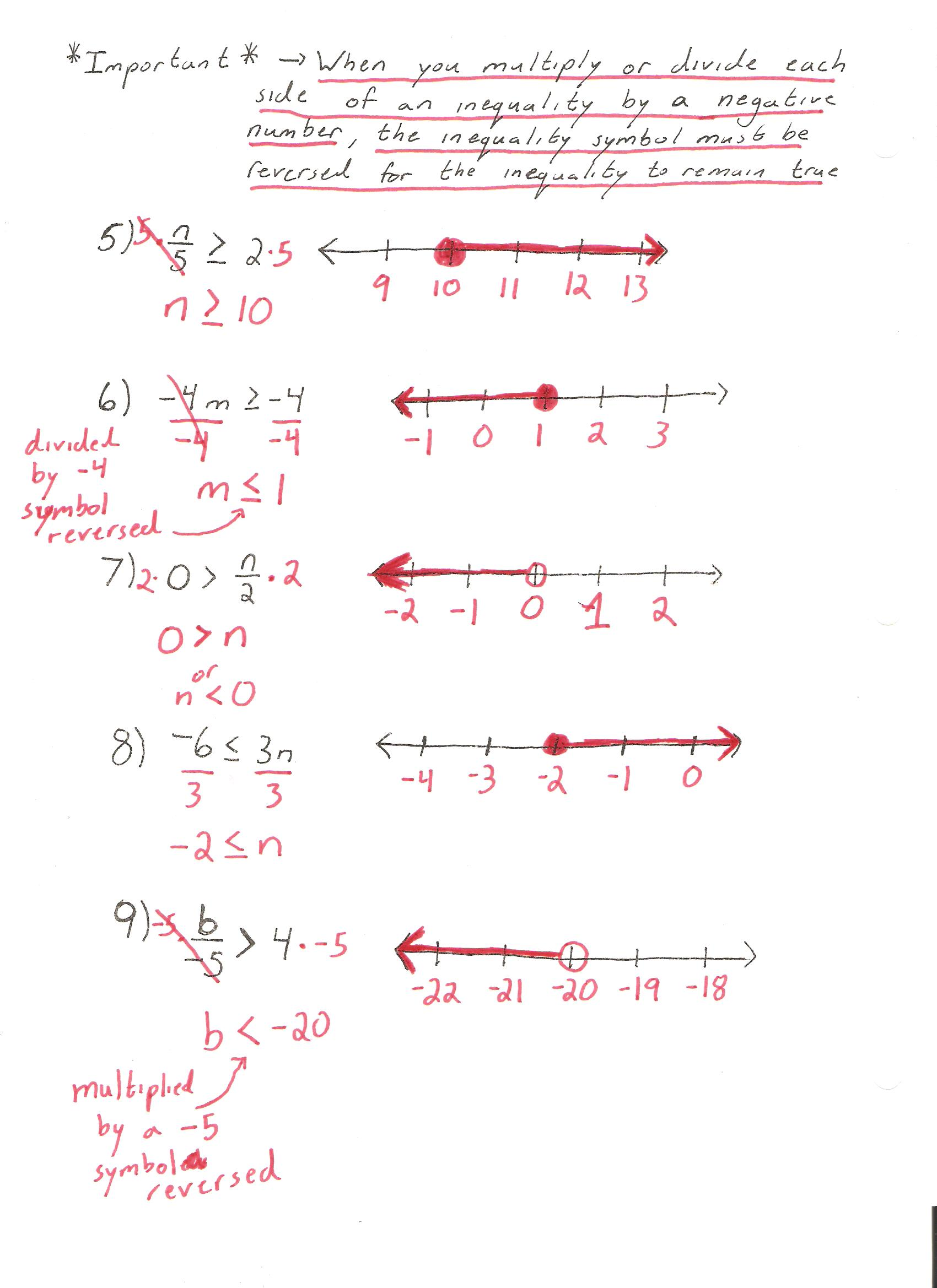 Solving And Graphing Inequalities Notes Pg 1