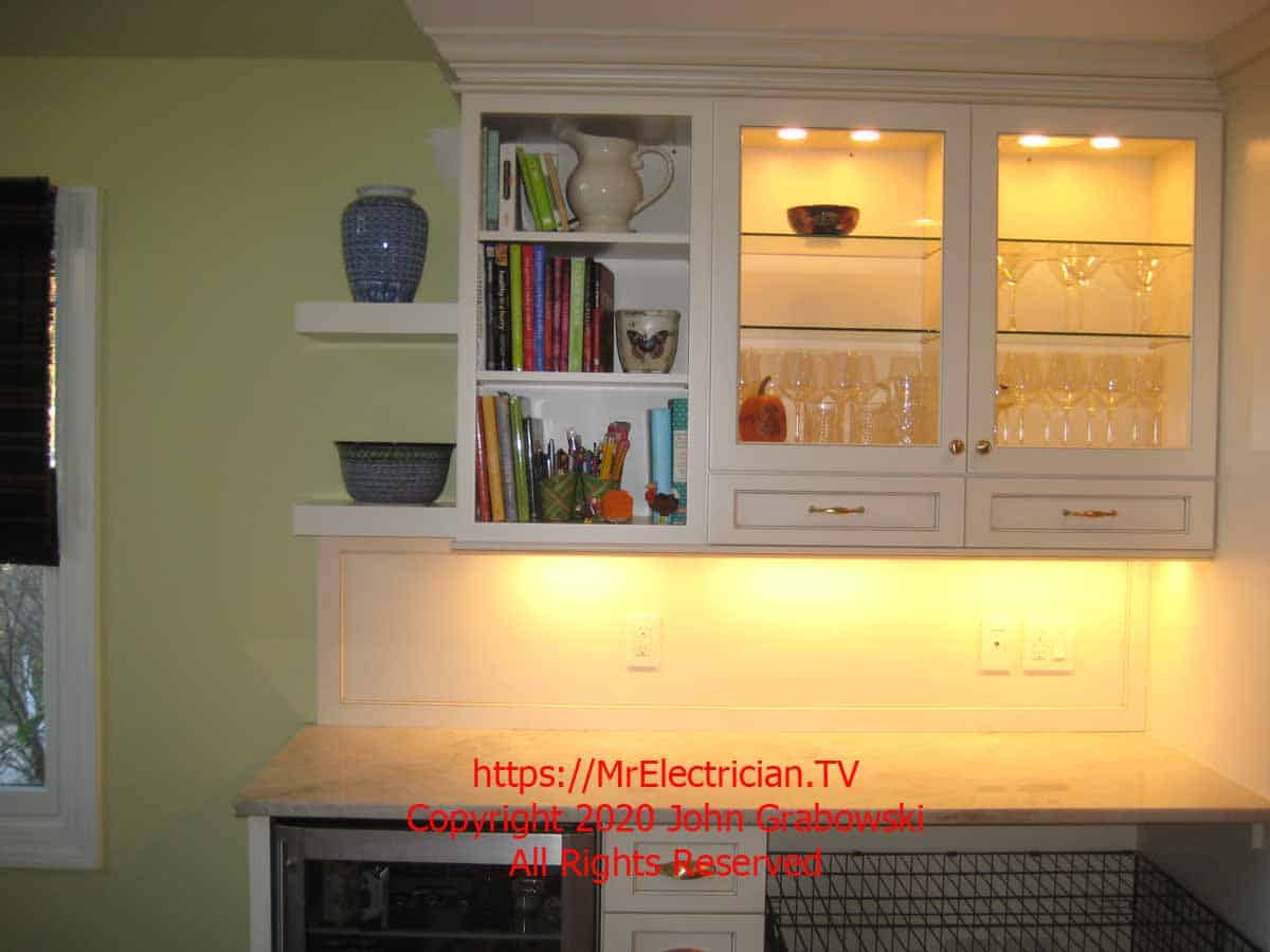 kitchen cabinet lighting installed in a