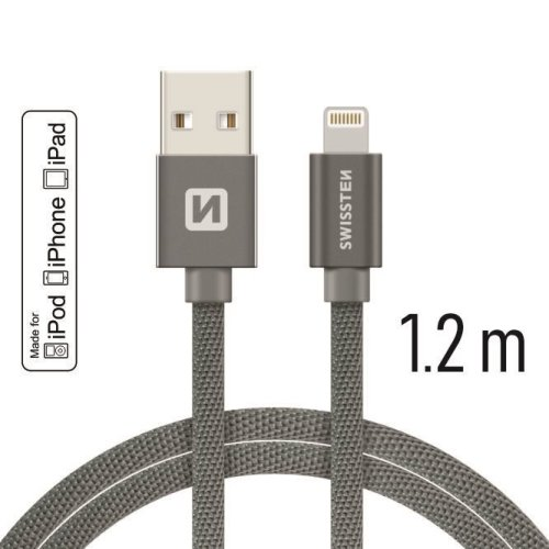 Swissten - Textile Cable USB - Lightning (grey - 1.2m)