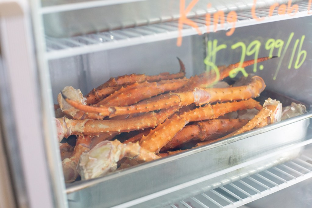 crab legs in fridge