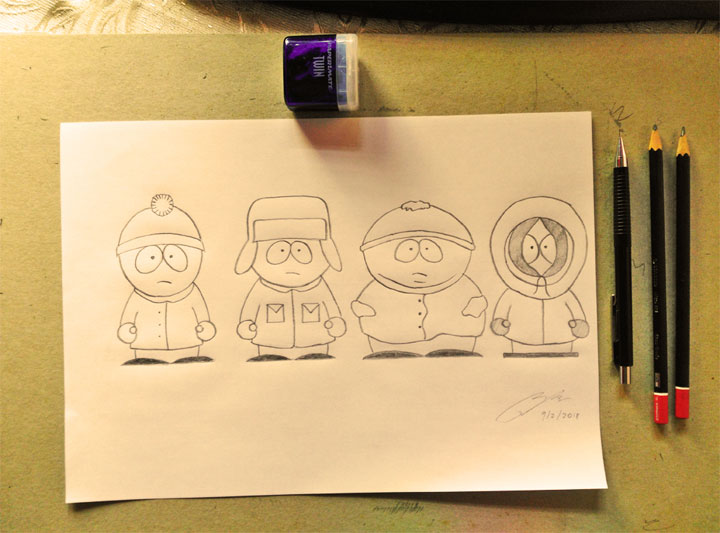 South Park Pencil Sketch by Shah Ibrahim