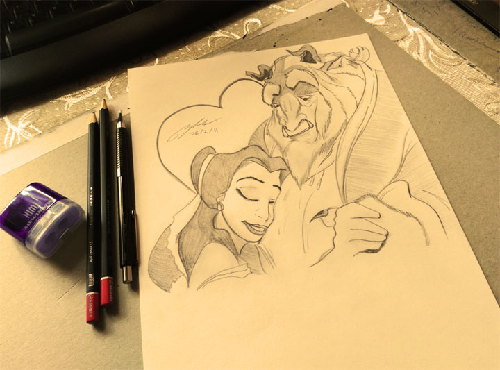 Beauty and the Beast Pencil Sketch by Shah Ibrahim