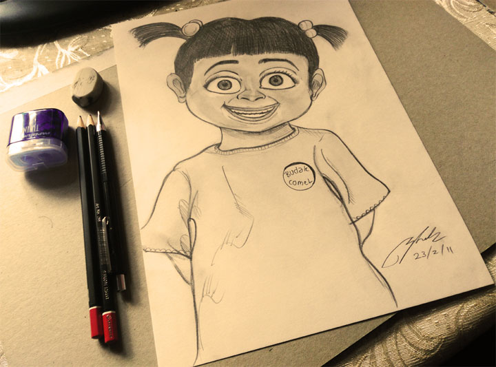 Boo Monster Inc Pencil Sketch by Shah Ibrahim