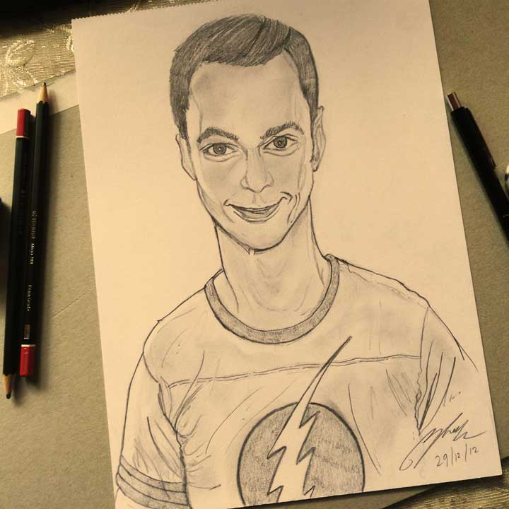 Dr Sheldon Cooper Pencil Sketch by Shah Ibrahim