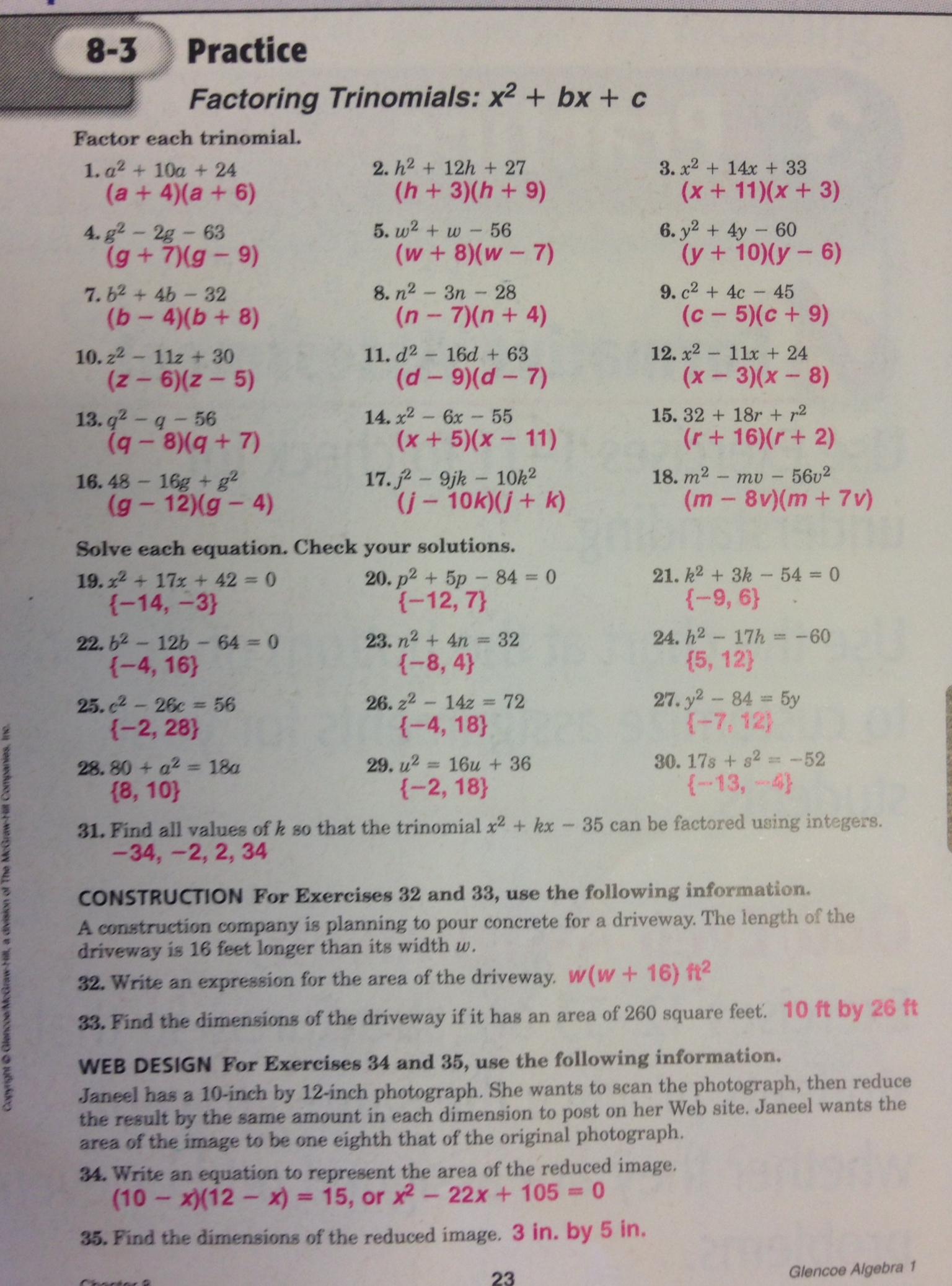 Homework Help Discovery Quadratic Equations