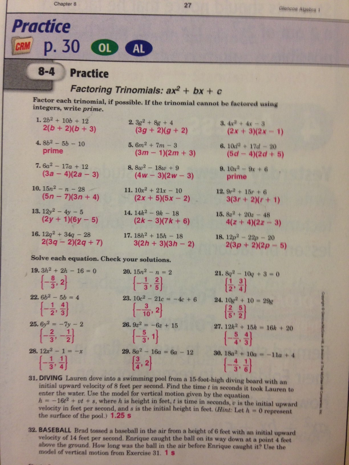 Algebra 2 Workbook Answers