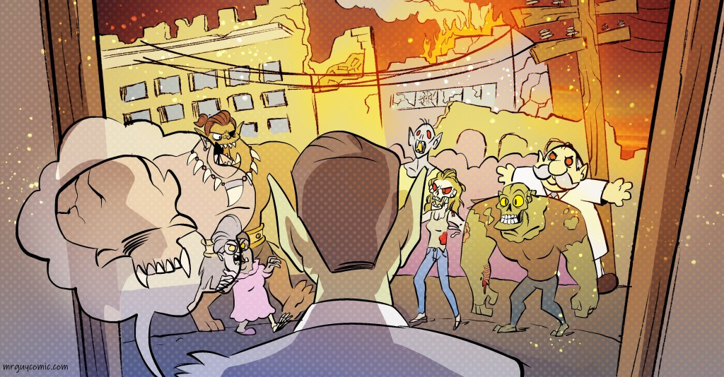 town on fire panel by diana camero for mr. guy zombie hunter
