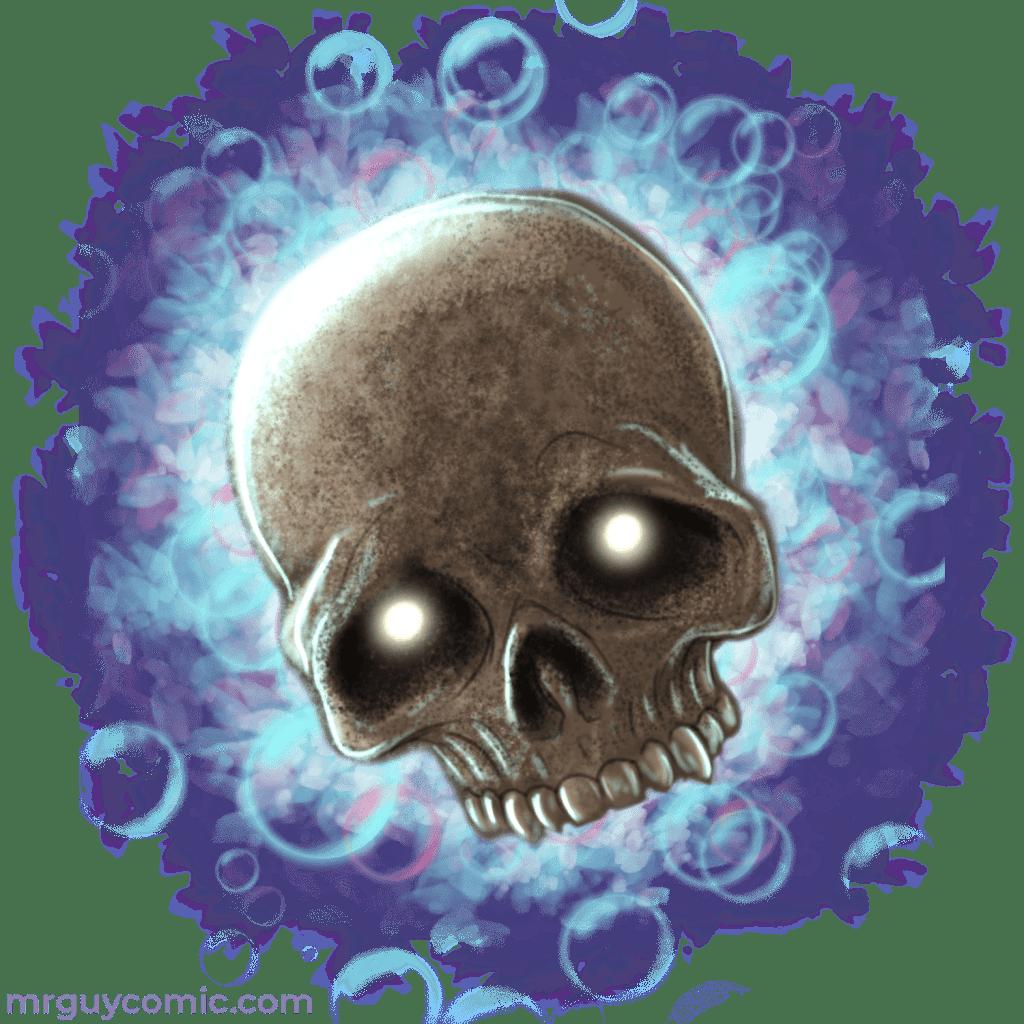Mr. Guy Zombie Hunter's floating ghost-skull sidekick, Spooky