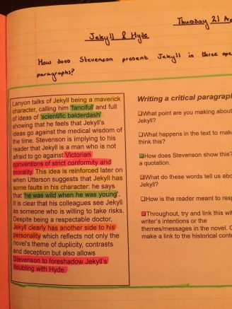 An example and a writing frame - explicit and no acronyms!