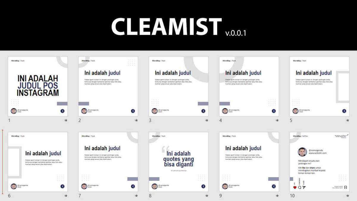 cleamist template instagram