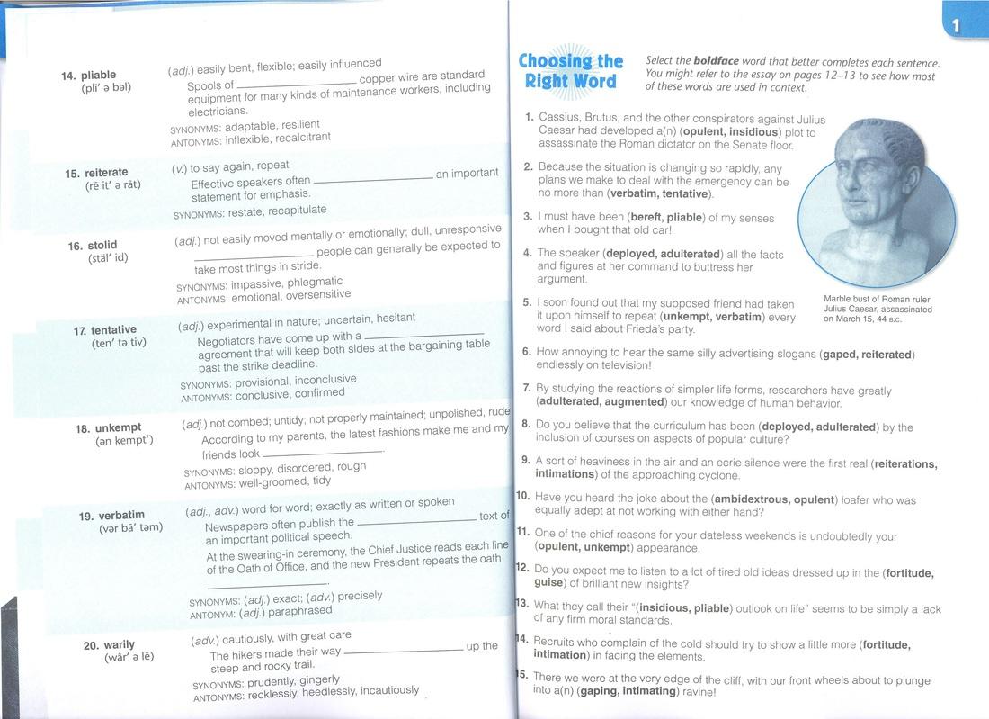 Vocabulary Workshop Level E Answers Unit 1 Vocabulary