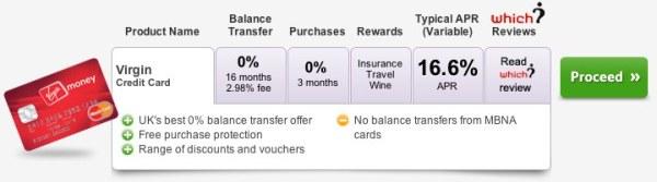 Tab listing of Virgin Credit Card