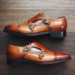 Brogue Double Monk Strap Shoe