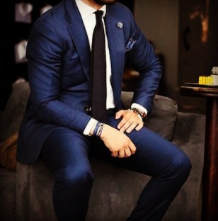Navy Blue Suit with Accessories