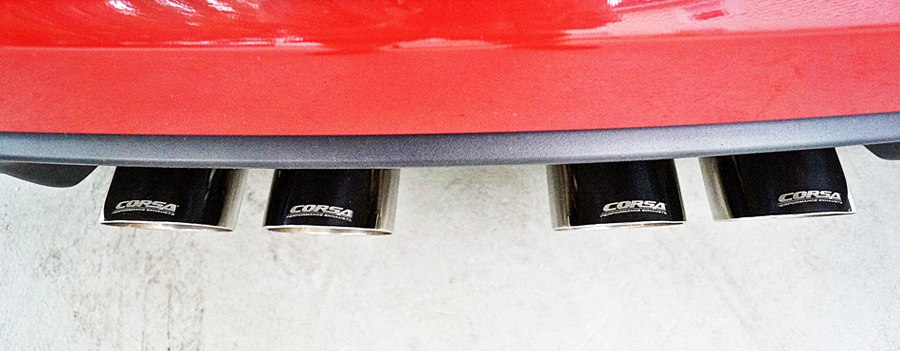 2007 Chevy Corvette Red Corsa Performance Exhaust Tips