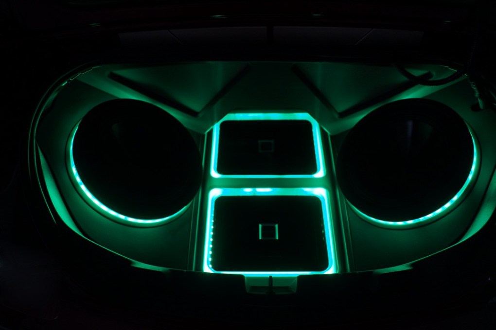 Alpine Custom Speaker Box Green LED Lights